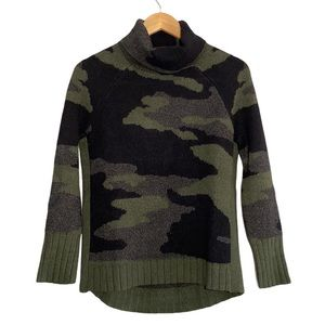 Cable & Gauge Camo Print Cowl Neck Sweater